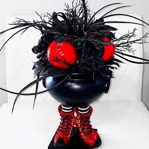 Witch shoes Cauldron Halloween Floral Arrangement